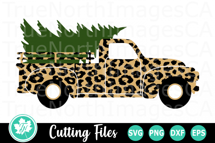 Leopard Print Christmas Truck - A Christmas SVG Cut File