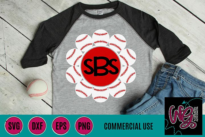 Baseball Circle Monogram SVG DXF PNG EPS