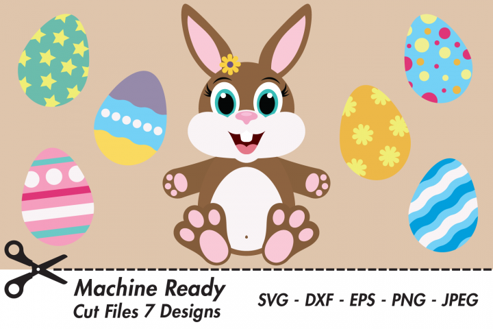 Cute Bunny Rabbit SVG Cut Files, Easter Bunny, Colorful Eggs
