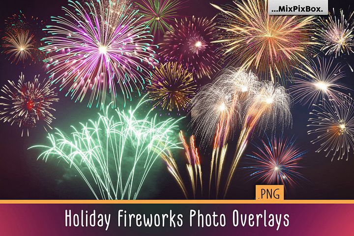Holiday Fireworks Overlays