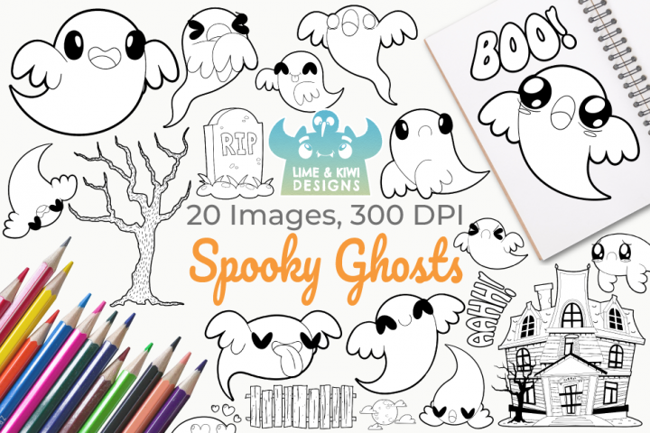 Spooky Ghosts Digital Stamps