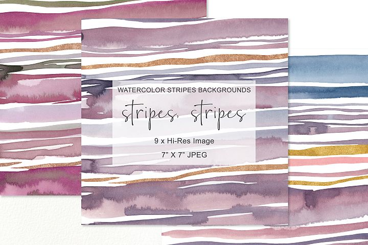 Hand Painted Watercolor Stripes Background 7x7 JPEG Tiles