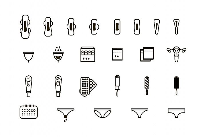 Feminine hygiene products icon set.