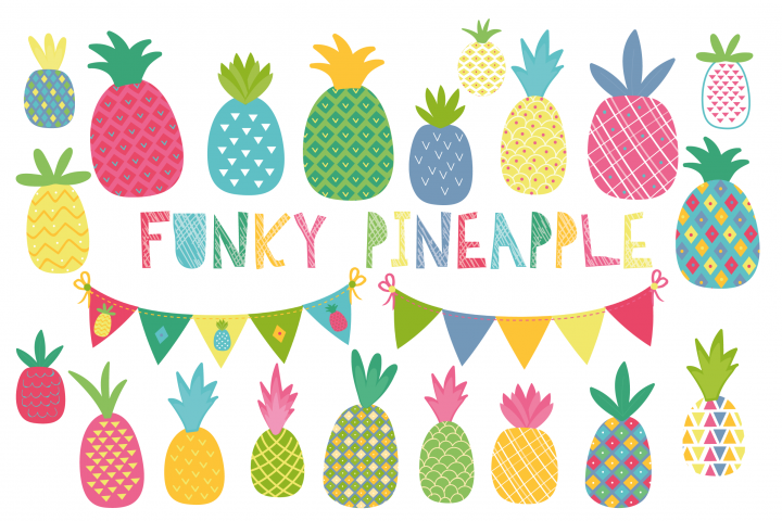 Funky Pineapple clipart and paper set