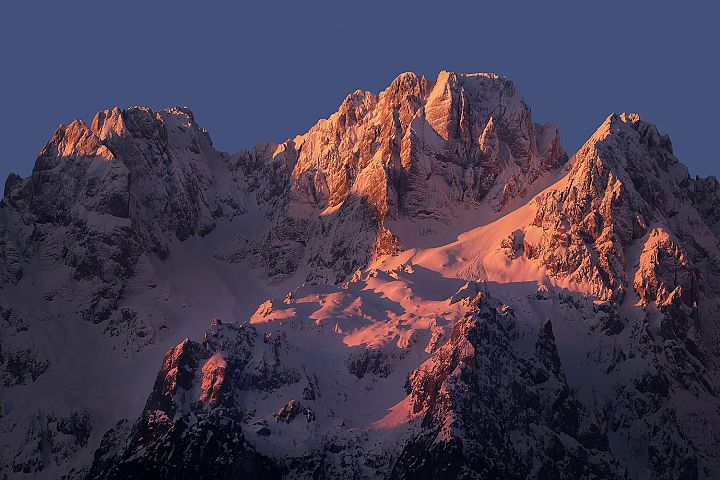 Majestic mountain peaks in the morning