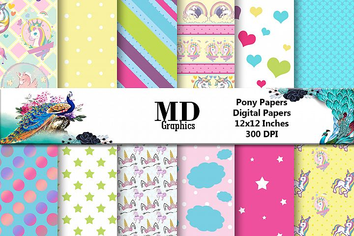 Unicorn Pony Digital paper, Scrapbook Papers, Digital Papers
