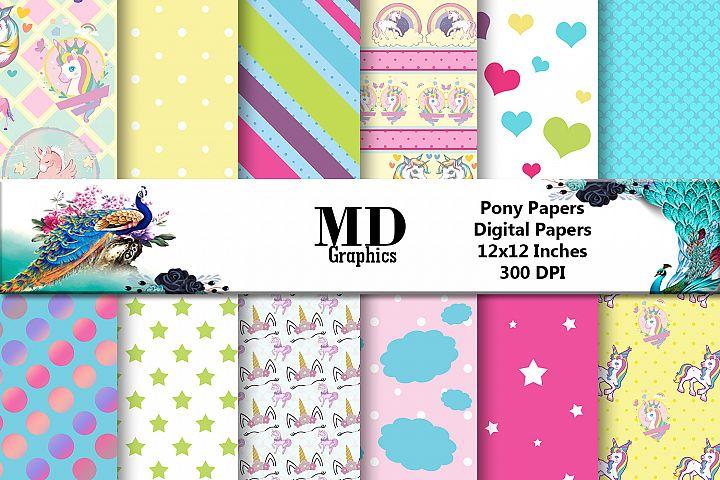 Unicorn Pony Digital paper, Scrapbook Papers, Digital Papers