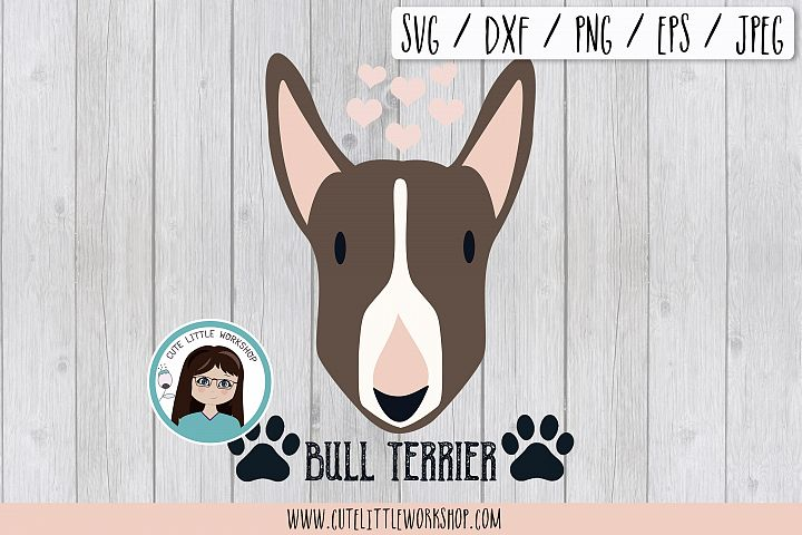 Bull terrier brown svg, dxf, png, eps