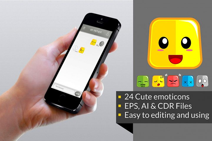 Square Cute Emoticon example 2