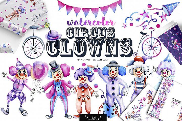 Circus clowns. Watercolor clip art.