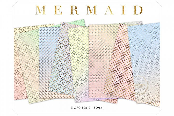 Mermaid Papers - Pastel Gradient Digital Paper