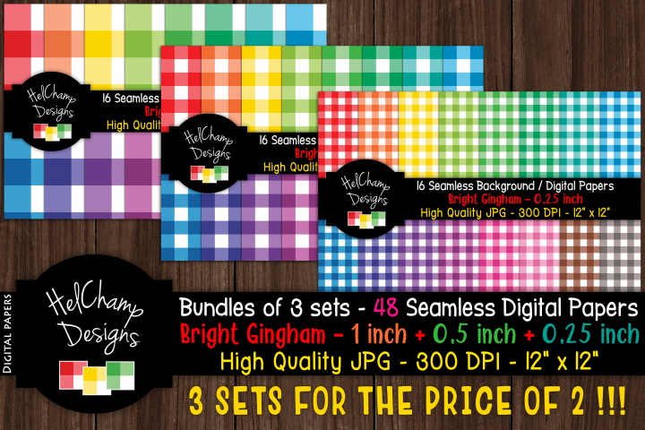 48 seamless Digital Papers - Gingham Bright serie - DB011