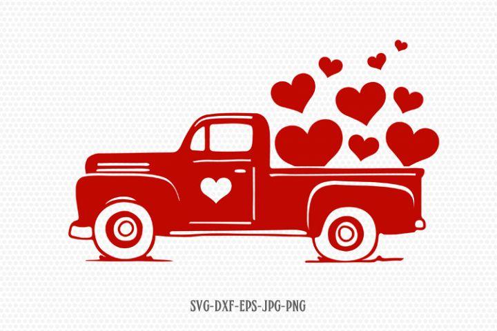 Valentines vintage Truck svg, Valentines Day SVG, Love SVG