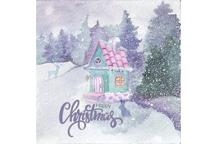 New year watercolor illustration with gnomes