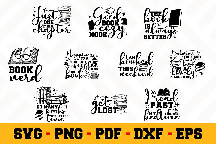Book Lover 10 Designs Pack | Reading SVG Bundle