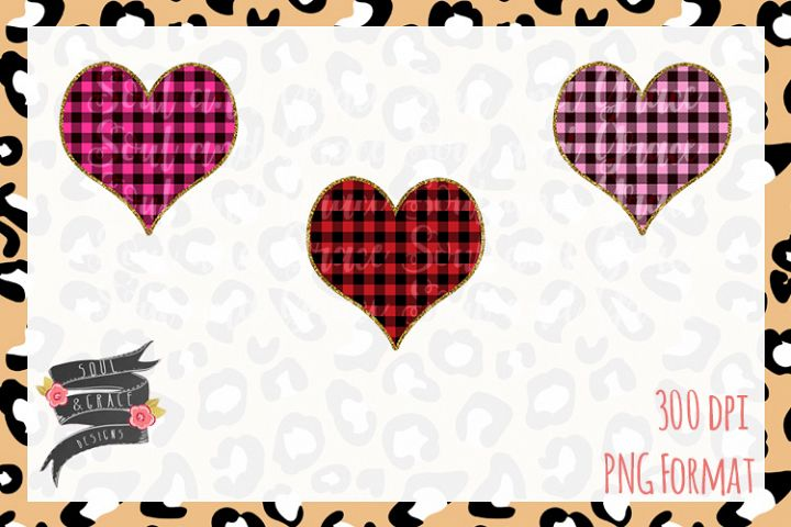 Valentines Day Buffalo Plaid Heart Gold Glitter
