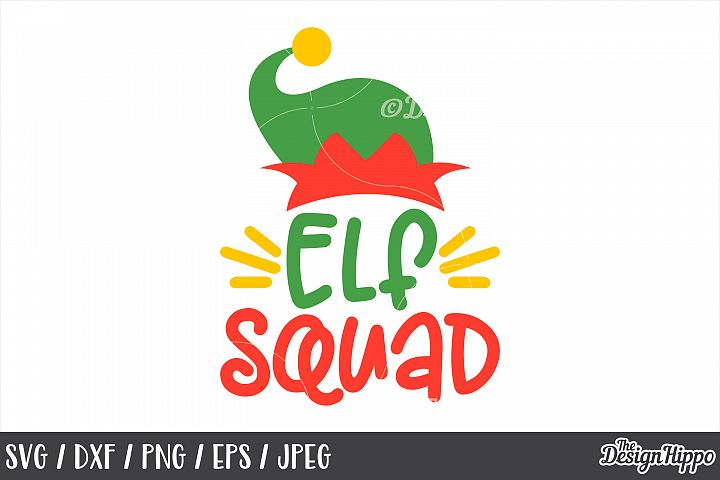 Elf Squad SVG, Elf Hat, Christmas, Crew, PNG, DXF, Cut Files