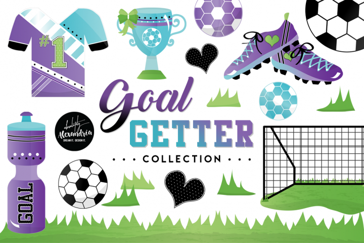 Goal Getter Clipart Graphics & Digital Paper Patterns Bundle