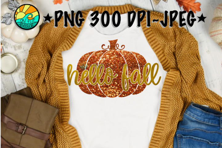 Hello Fall - Pumpkin - Glitter - PNG for Sublimation & JPEG