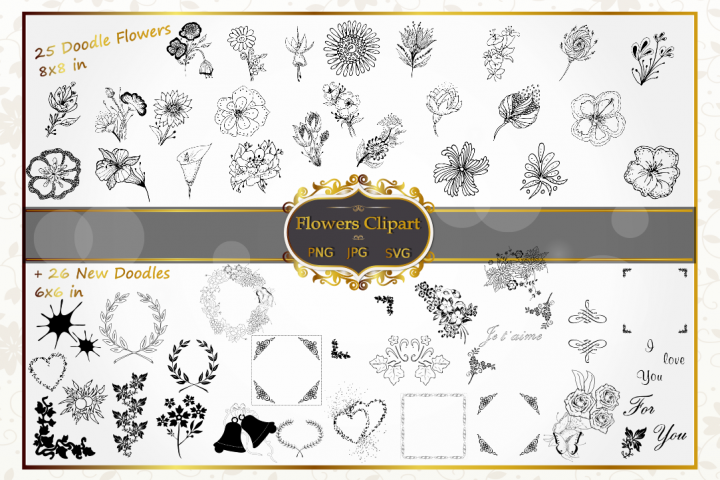 Wedding Floral Hand Drawn Vector Silhouette