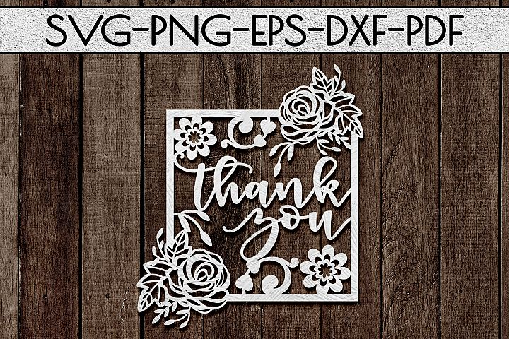 Thank You 5 Papercut Template, Appreciation Frame SVG, PDF