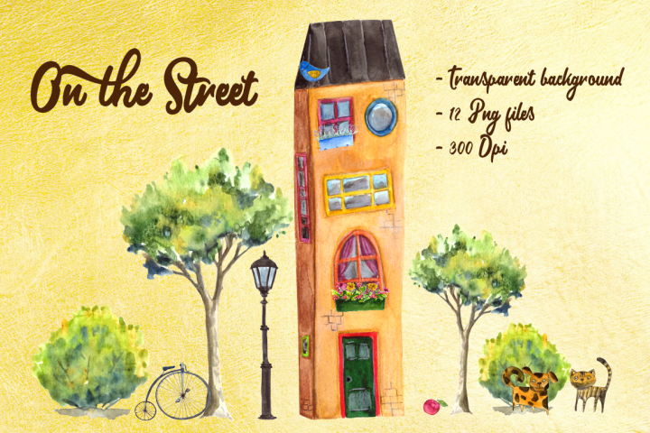 On the Street - Watercolor Clip Art Set