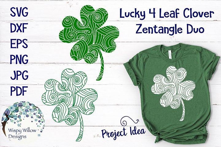 Lucky Four Leaf Clover Zentangle SVG