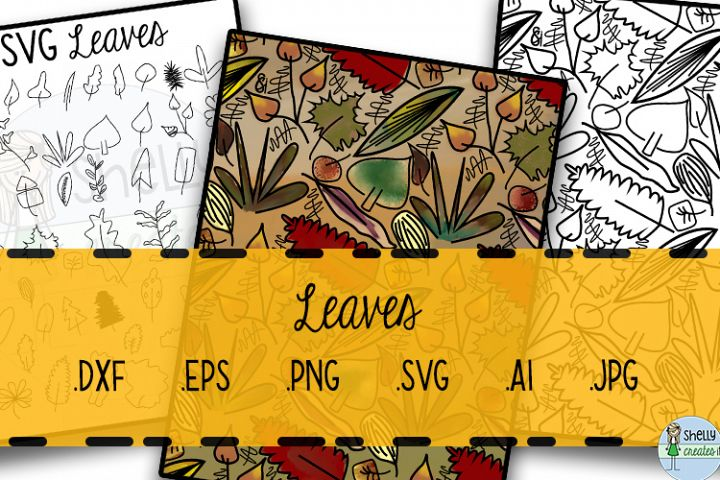 Leaf coloring page digital background and over 50 SVG leaves