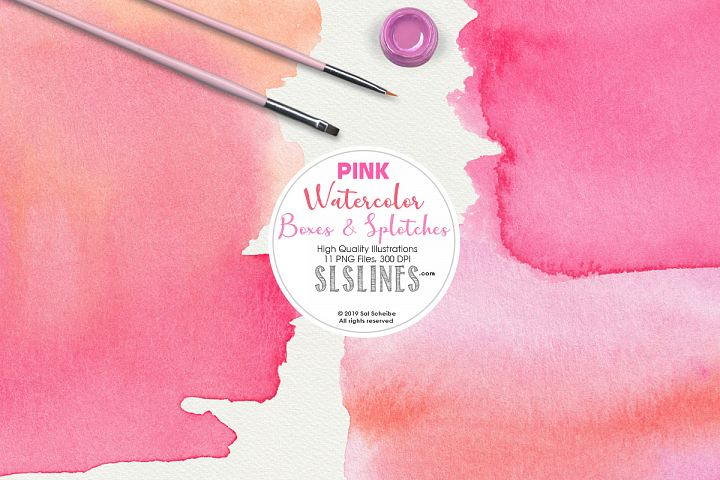 Pink Watercolor Boxes, Rectangles and Splatters Clipart