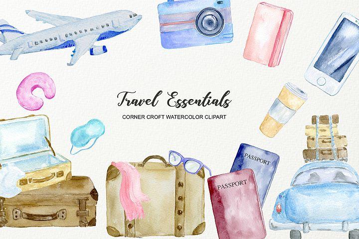 Watercolour Clipart Travel Essentials