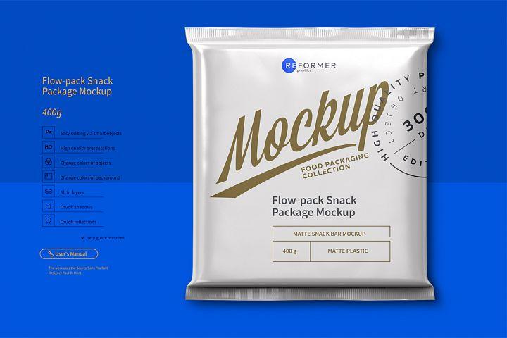 Flow-pack Snack Bar Mockup 400g