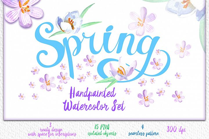 Spring handpainted watercolor set
