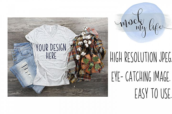Mockup Bella Canvas Shirt / Fall Flat Lay / White Marble
