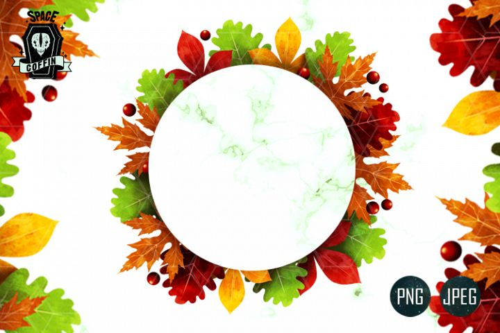 Fall Autumn CLIPART Wreath PNG-JPEG