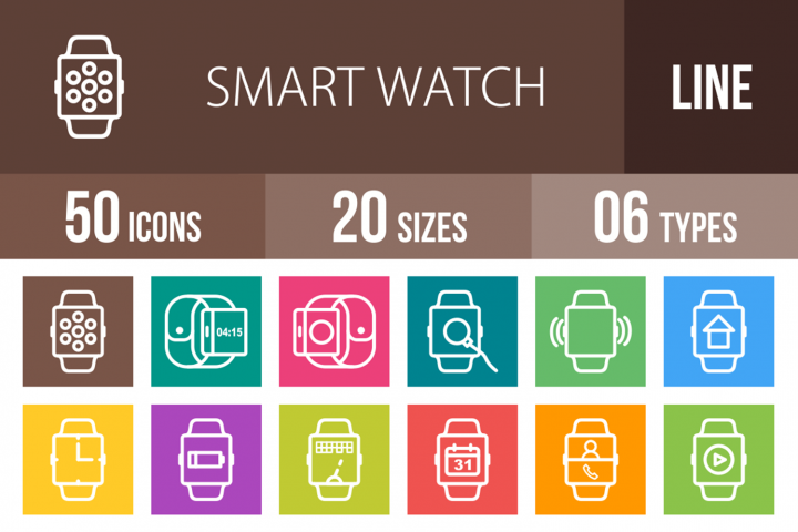 50 Smart Watch Line Multicolor B/G Icons