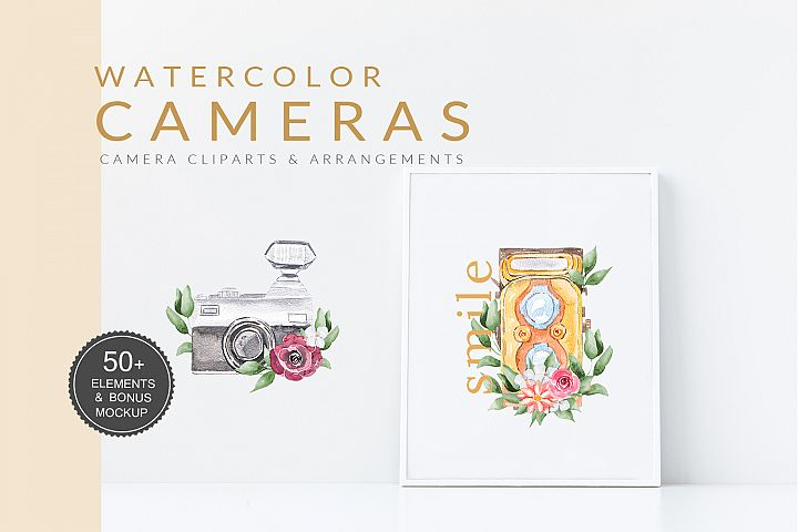 Watercolor Camera Clipart Vintage
