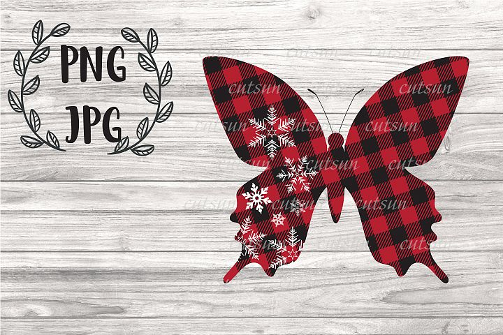 Butterfly Snowflakes Plaid SVG