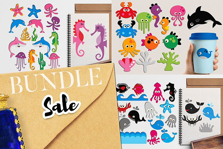 Under the sea - Ocean Animals Illustrations Bundle