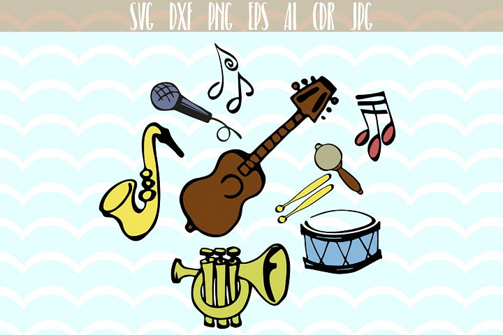 Music musical instruments guitar saxophone notes SVG