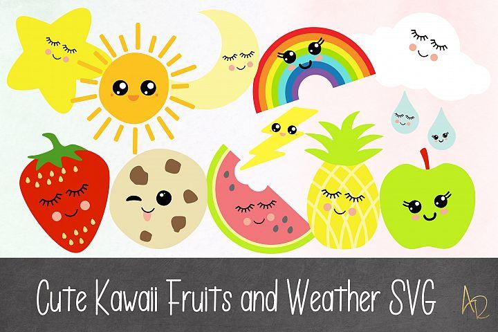 Kawaii Fuit and Weather SVG bundle