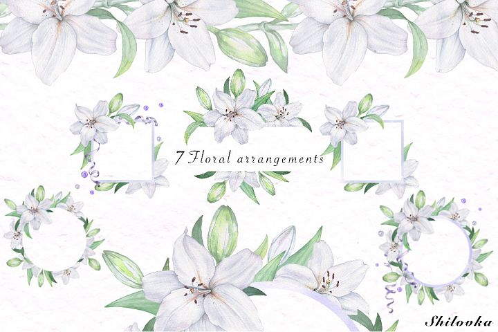 White Lily. Watercolor flower arrangements