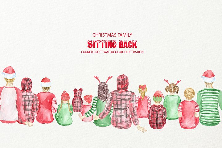 Watercolor Illustration Christmas Family in Sitting Position