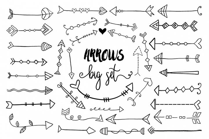 Black hand drawn doodle arrows clipart, Tribal cute arrow clip art