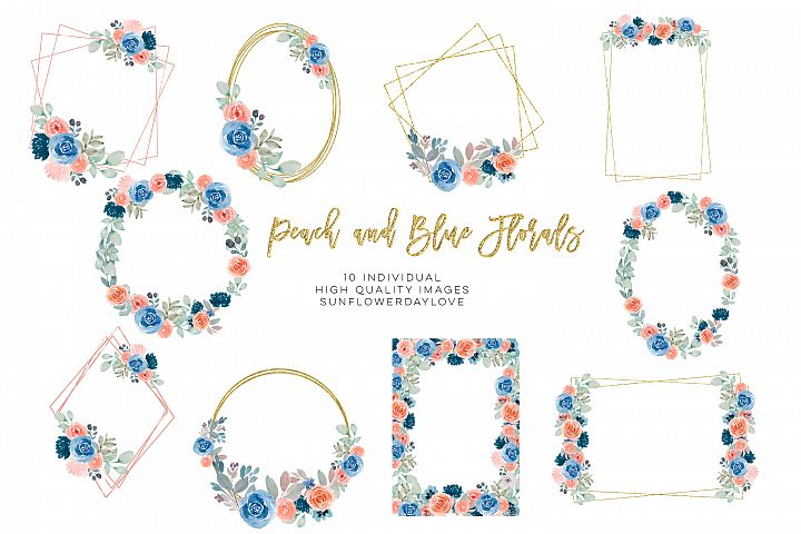 Navy blue Wedding Clipart, Watercolor Floral Frames,