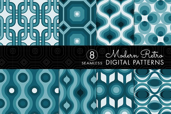 8 Seamless Retro Modern Patterns - Teal