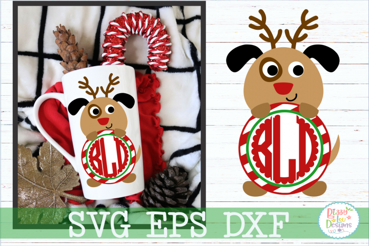 Christmas Reindeer Dog Monogram Frame