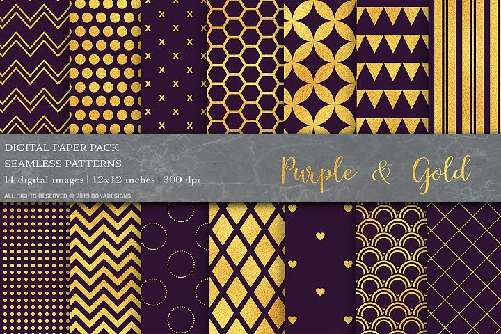 Purple Gold Geometric Digital Papers, Gold Patterns