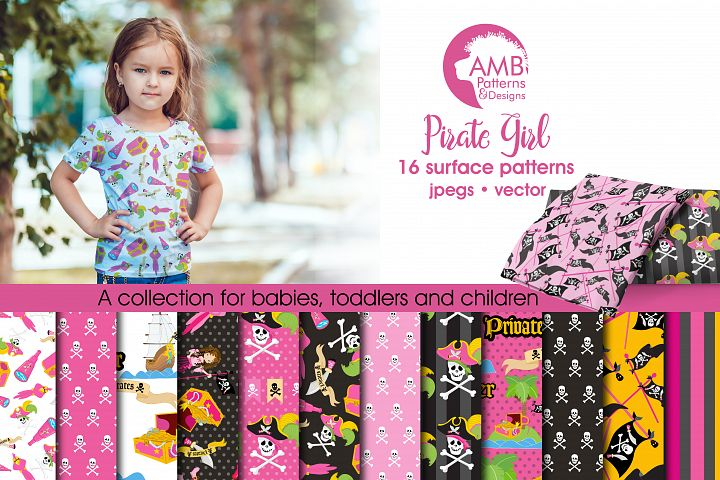 Pink Pirate Girls pattern, papers, surface design AMB-1108