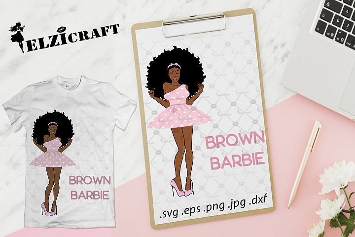 Afro Woman Brown Barbie Doll SVG Cut File