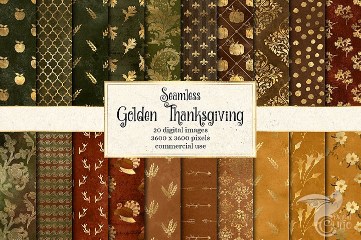 Golden Thanksgiving Digital Paper